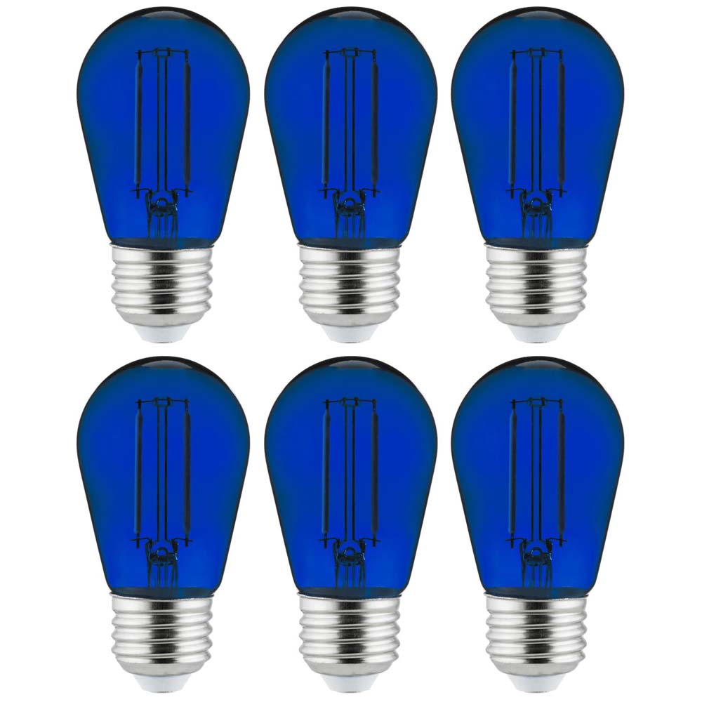 6Pk - 2 watts Blue LED Filament S14 Sign Clear Dimmable Light Bulb