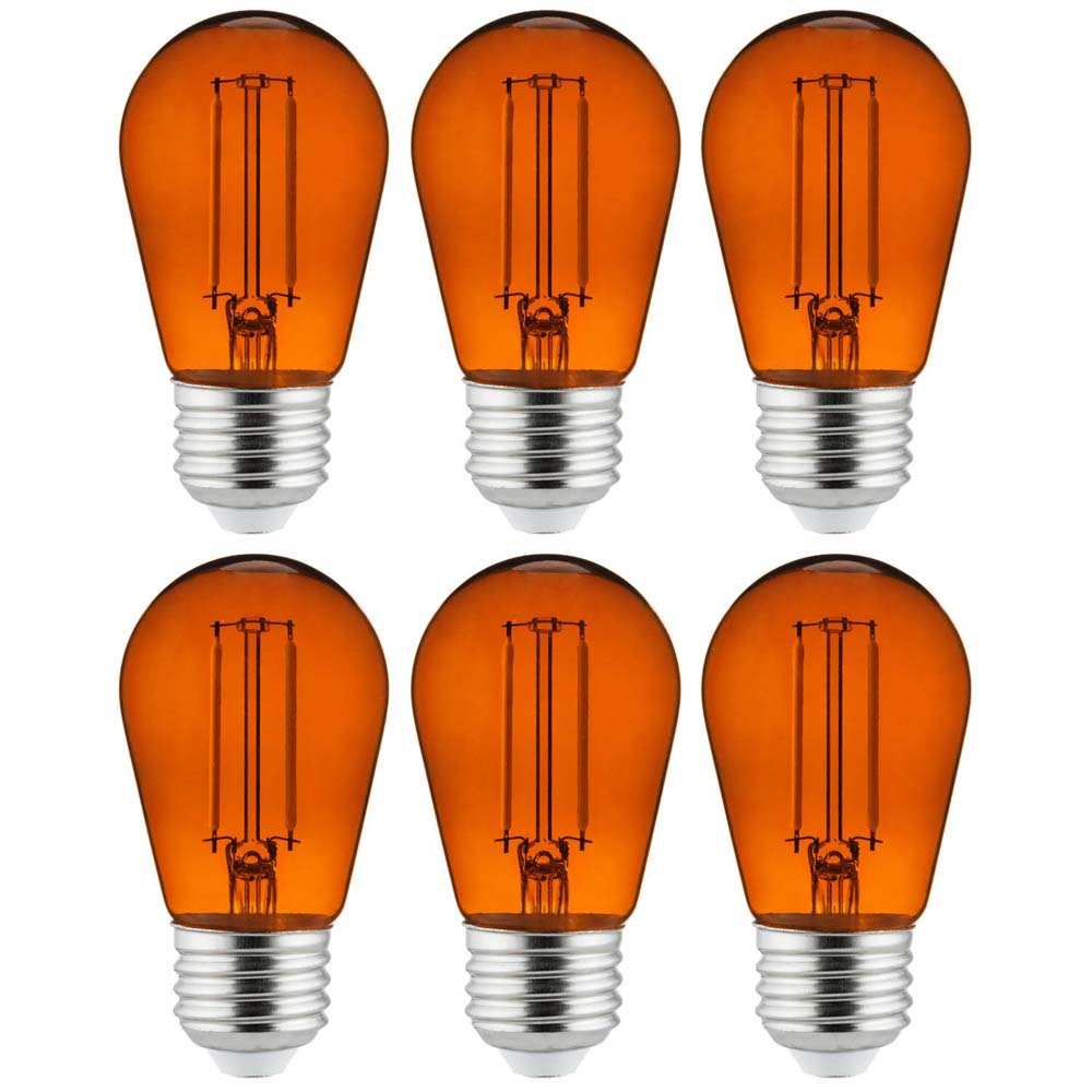6Pk - 2 watts Orange LED Filament S14 Sign Clear Dimmable Light Bulb