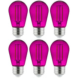 6Pk - 2 watts Purple LED Filament S14 Sign Clear Dimmable Light Bulb