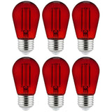 6Pk - 2 watts Red LED Filament S14 Sign Clear Dimmable Light Bulb