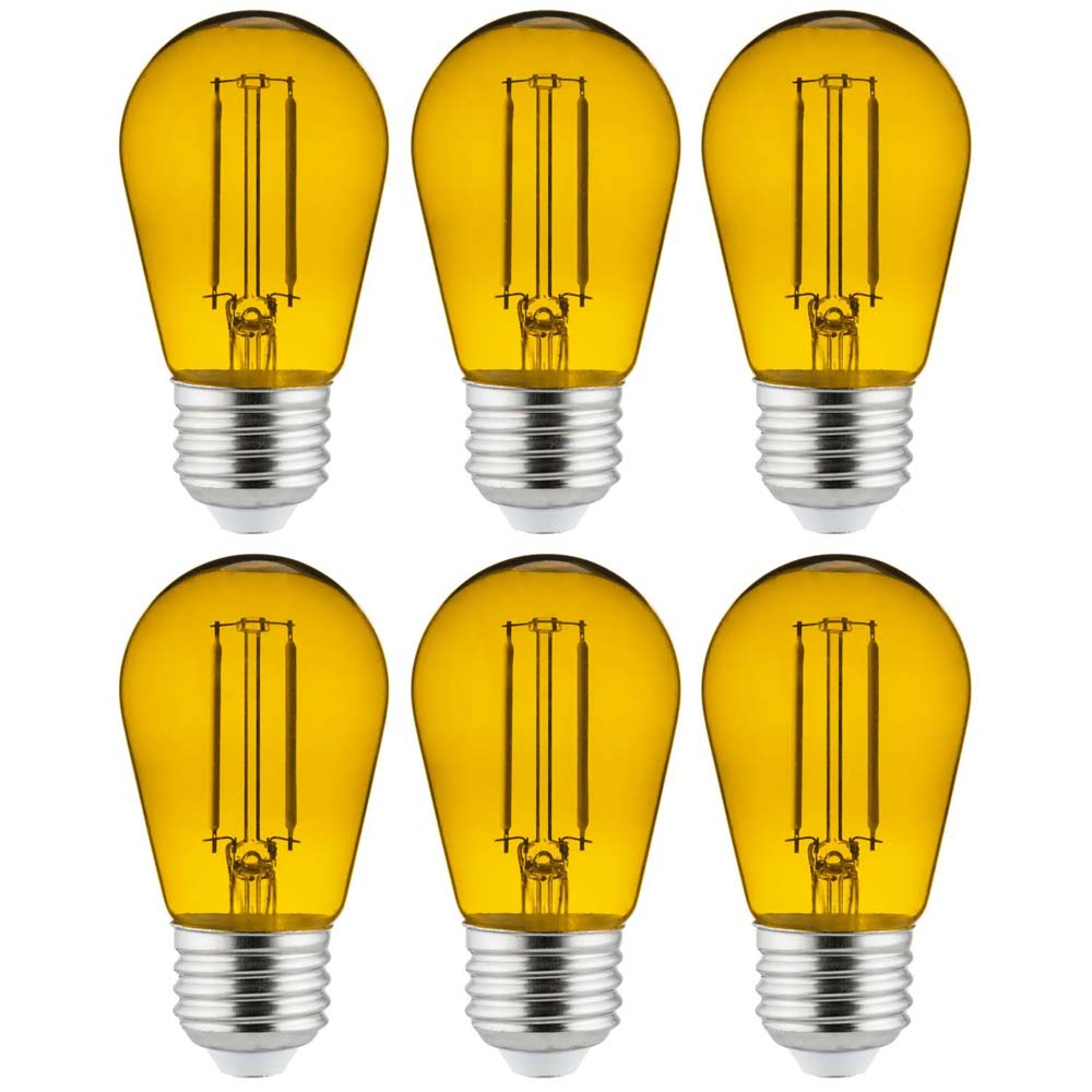 6Pk - 2 watts Yellow LED Filament S14 Sign Clear Dimmable Light Bulb