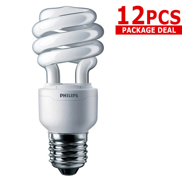 12x PHILIPS 13W 2700k Soft White 10000Hrs CFL Twist bulb - 60 watt Replacement