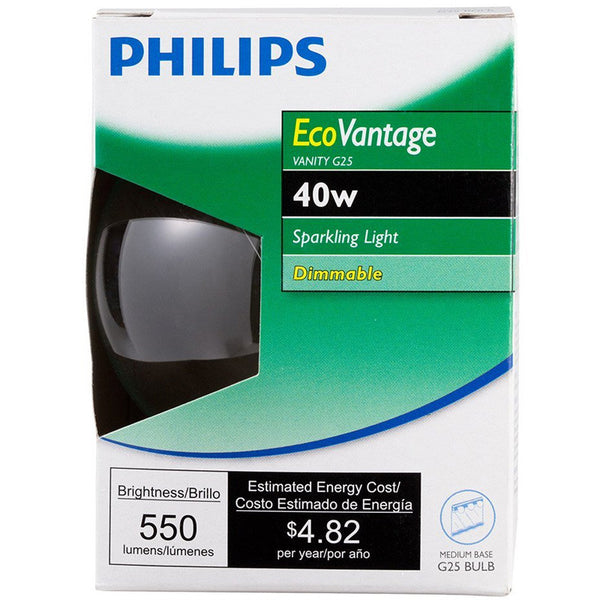 Philips Ecovantage 40w Globe G25 Decorative Clear Halogen