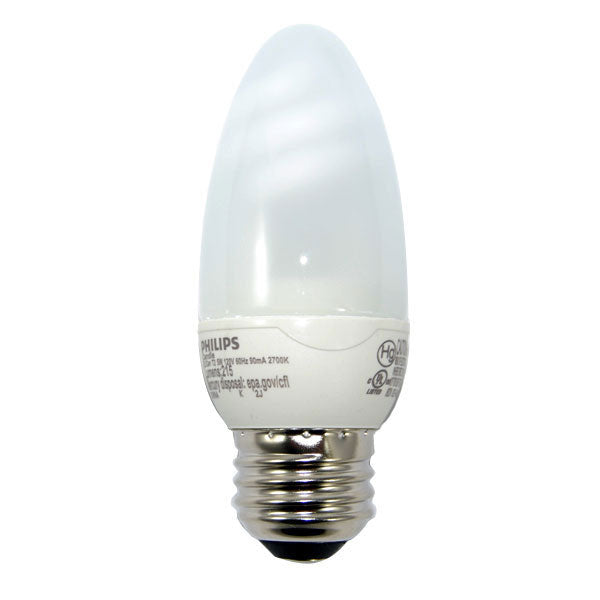 Philips 5w 120v Bullet E12 2700K Warm White Decorative Fluorescent Light Bulb