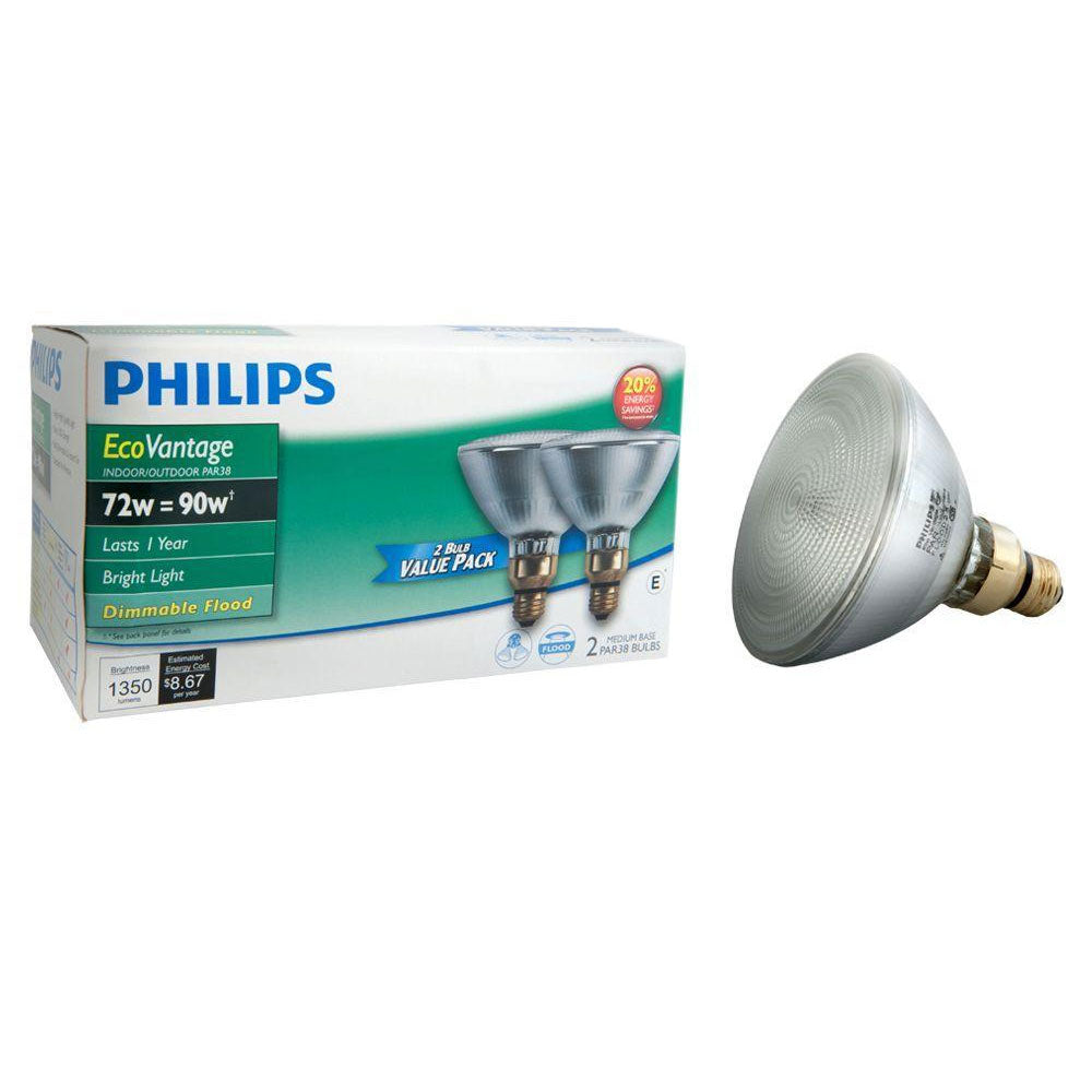 2PK - Philips 72w 120v PAR38 FL25 2900k EcoVantage Halogen Light Bulb