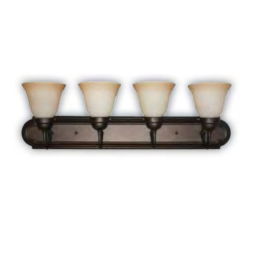 Sunlite 4 Lamp 30 in Dusted Brown Vanity Sconce Fixture Tea Stained Glass