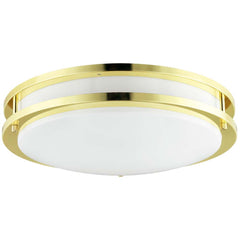 "Sunlite 45576-SU 14"" Decorative Band Trim Fixture Polished Brass White Lens"