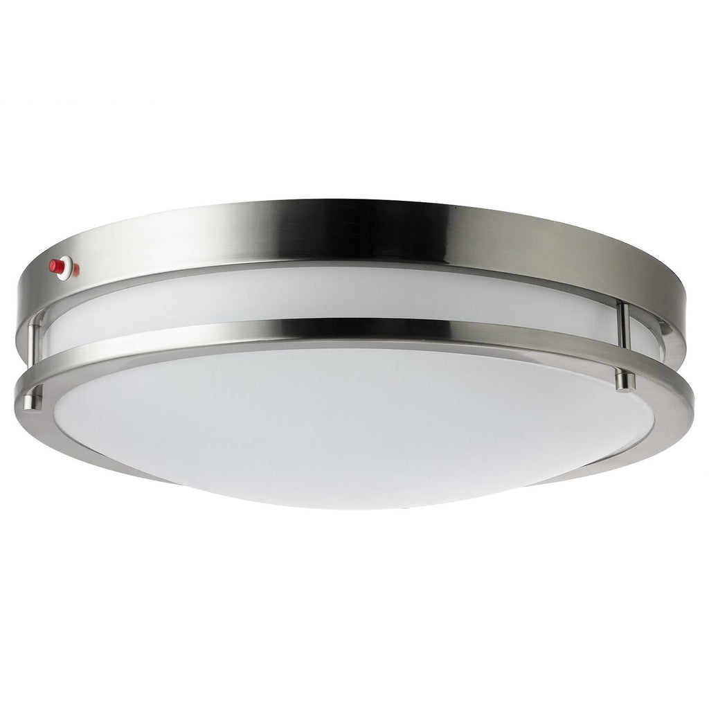 Sunlite 45600-SU 15w Dome Ceiling Light Fixture in Brushed Nickel - 3000K