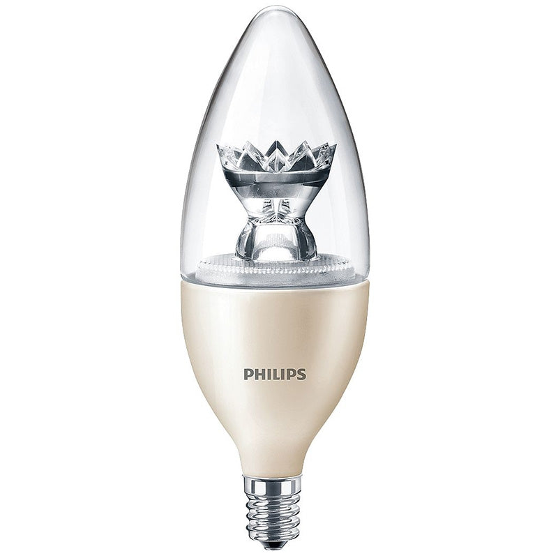 Philips 4.5W B12 E12 Candelabra Screw LED Dimmable Warm Glow Light Bulb