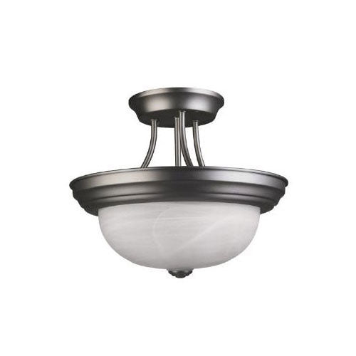 Sunlite S1050A Semi Flush Satin Nickel Fixture Alabaster Glass