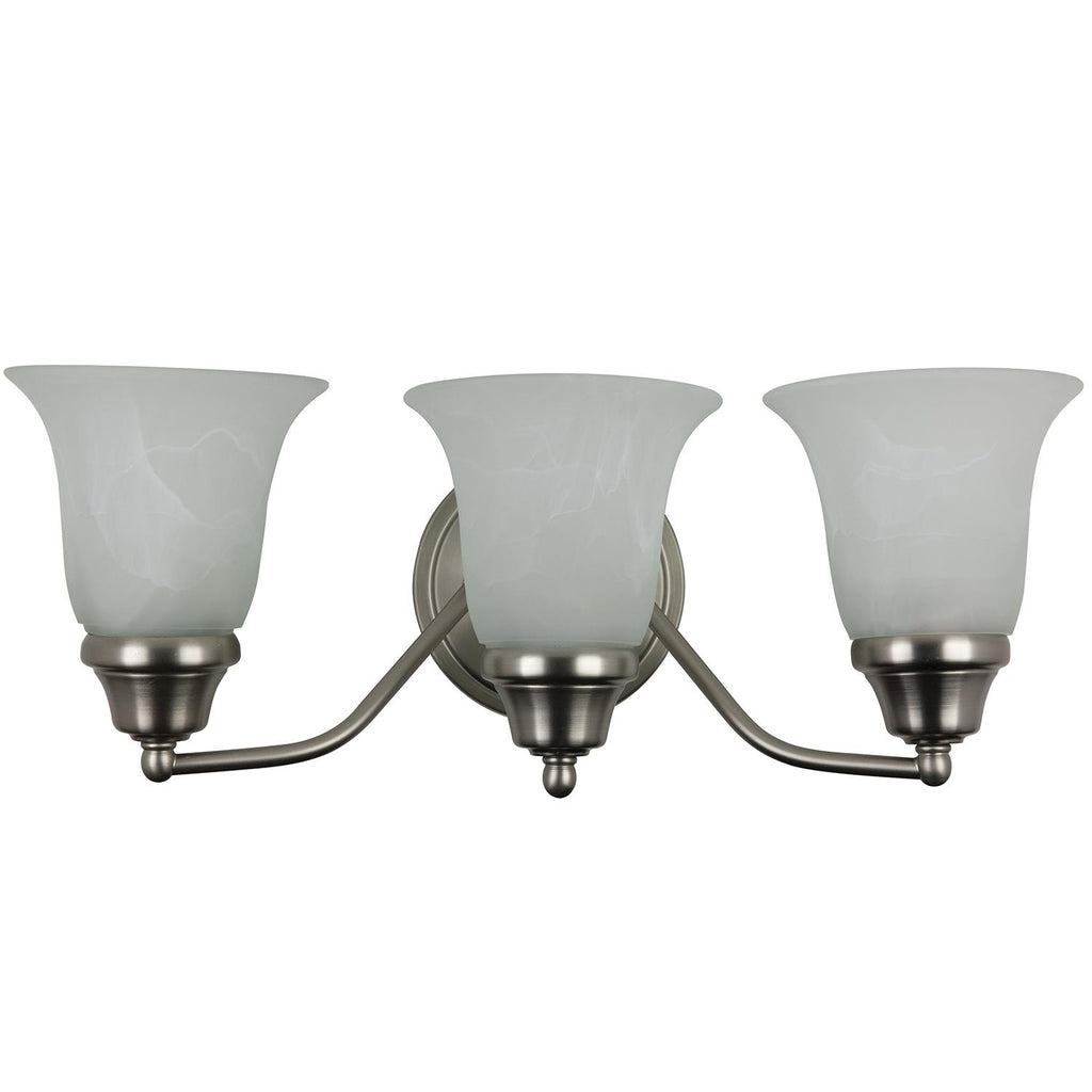Sunlite 3 Lamp Decorative Sconce Vanity Fixture, Satin Nickel Finish, Alabaster Glass