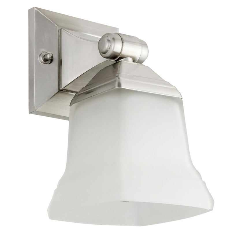 SUNLITE 1 light Square Brushed Nickel Vanity Fixture - 100 Watts Max