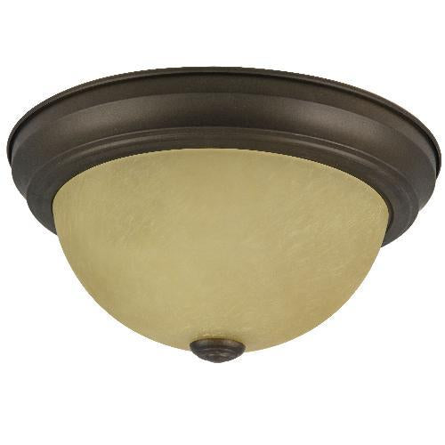 SUNLITE 11in Distressed Brown Finish Tea Stained Glass Dome Ceiling Fixture