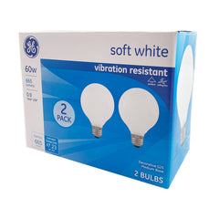 2pk - GE 60W G25 Frosted Decorative 2700K Incandescent Light Bulb