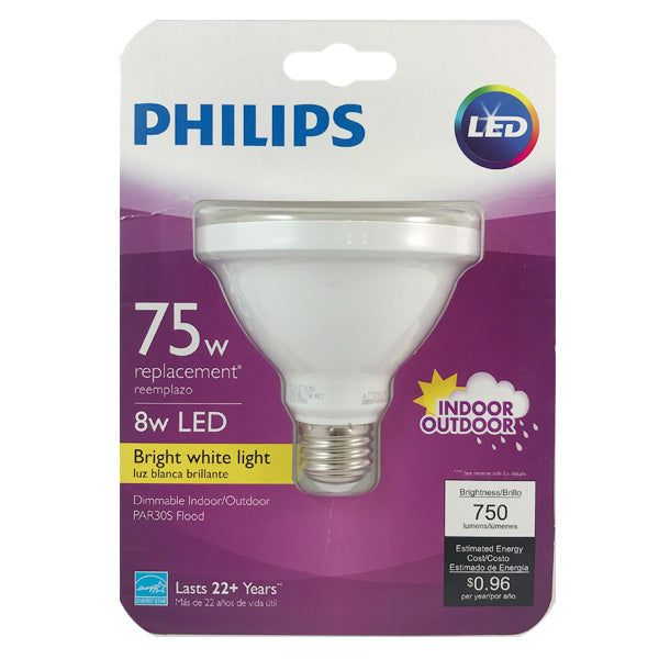 Philips 8W PAR30S LED 3000K Bright White Indoor Outdoor Flood Bulb