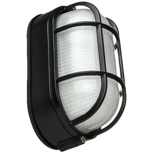 SUNLITE ODI1020 Black Oval Wall Mount Outdoor fixture w/ Clear Ribbed Glass