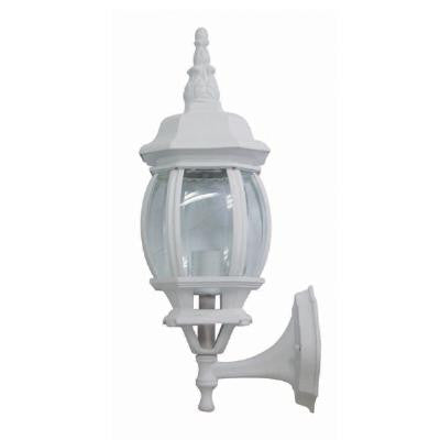 Sunlite ODI1100 60w Bvld Glass white wall mount up outdoor fixture