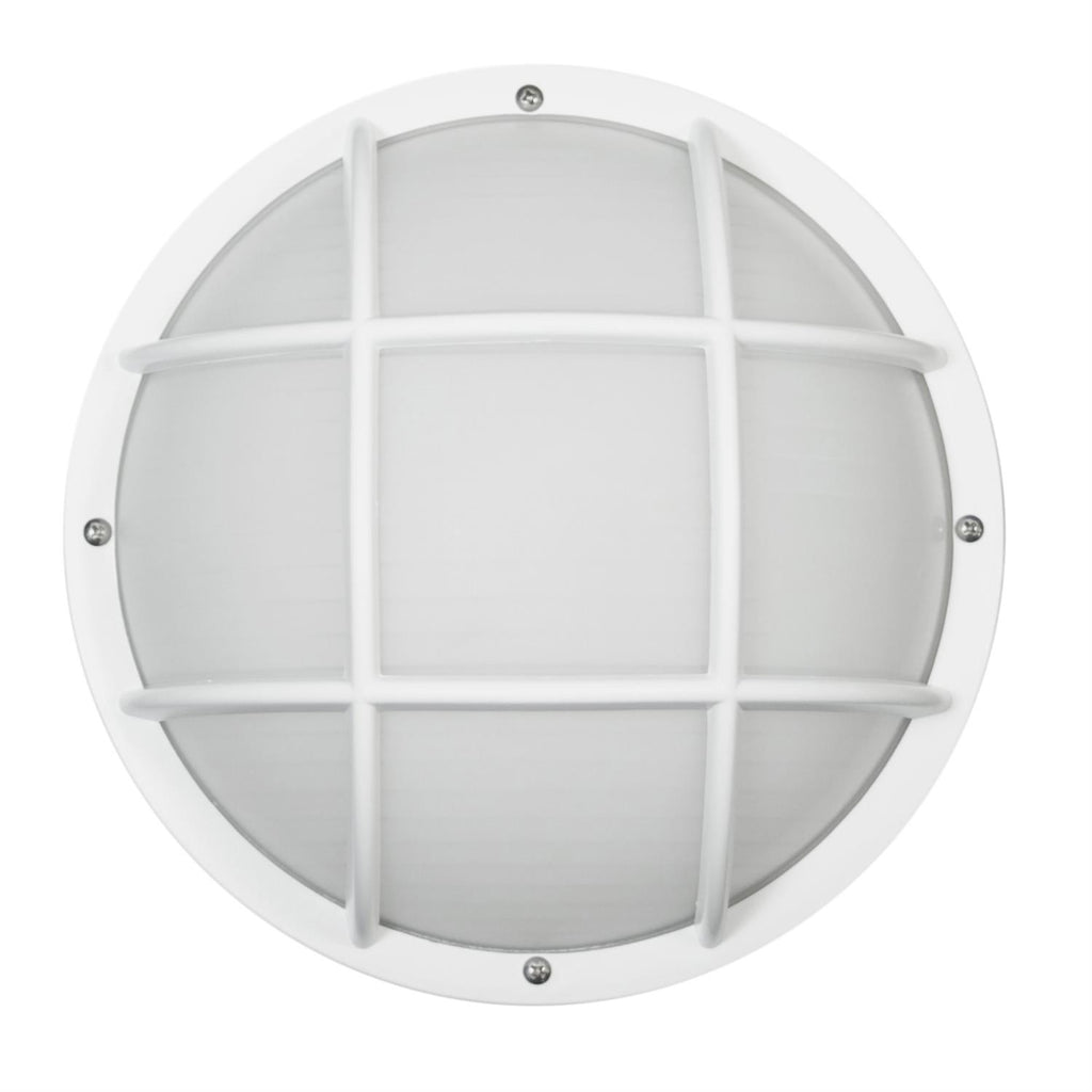 SUNLITE E26 Eurostyle Grid White Outdoor Wall Lighting Fixture