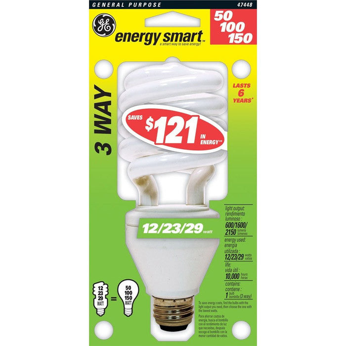 GE 12/23/29W 3-Way Twist 2700k Compact Fluorescent Light Bulb