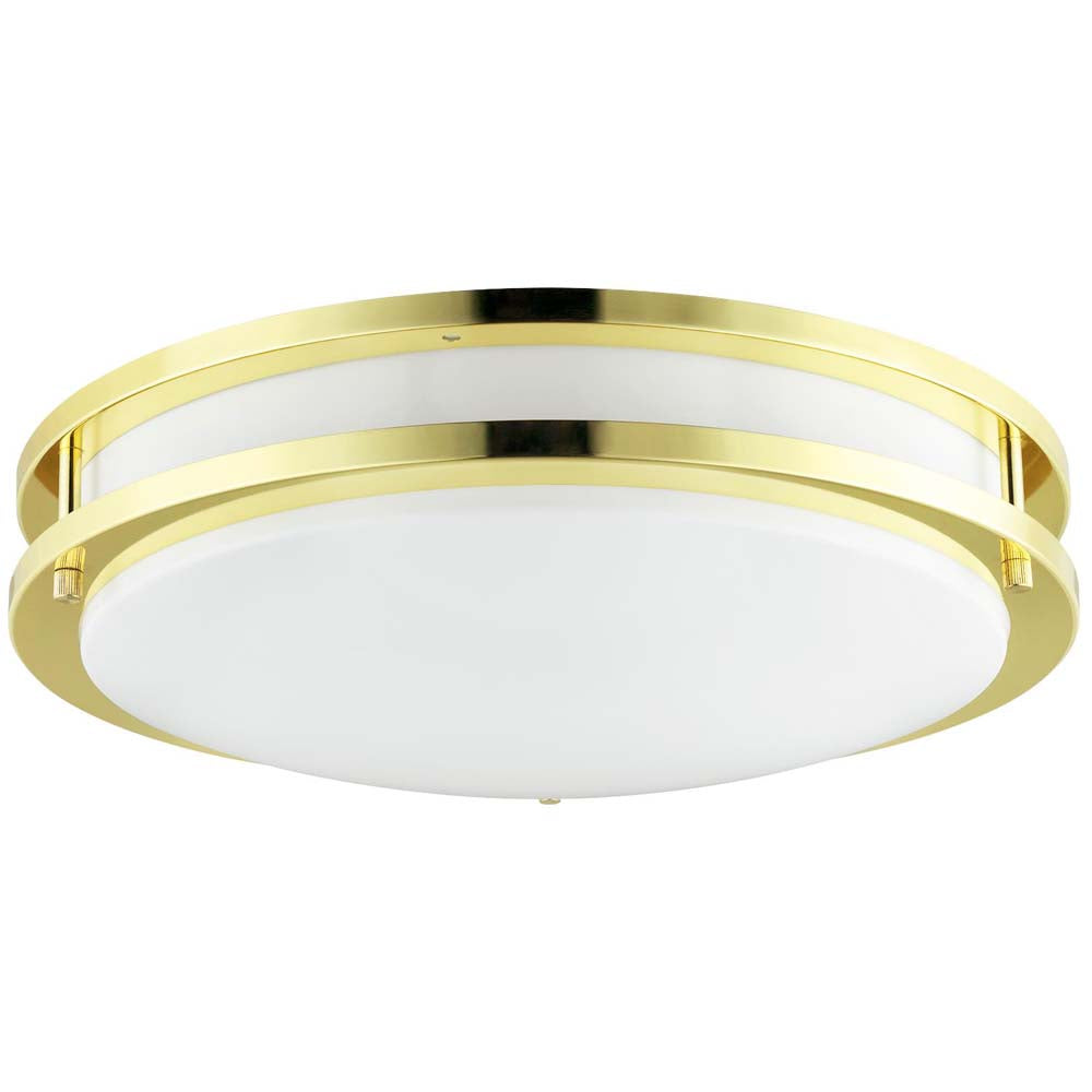 "Sunlite 50434-SU 14"" Round Double Band Fixture Polished Brass Warm White 3000K"