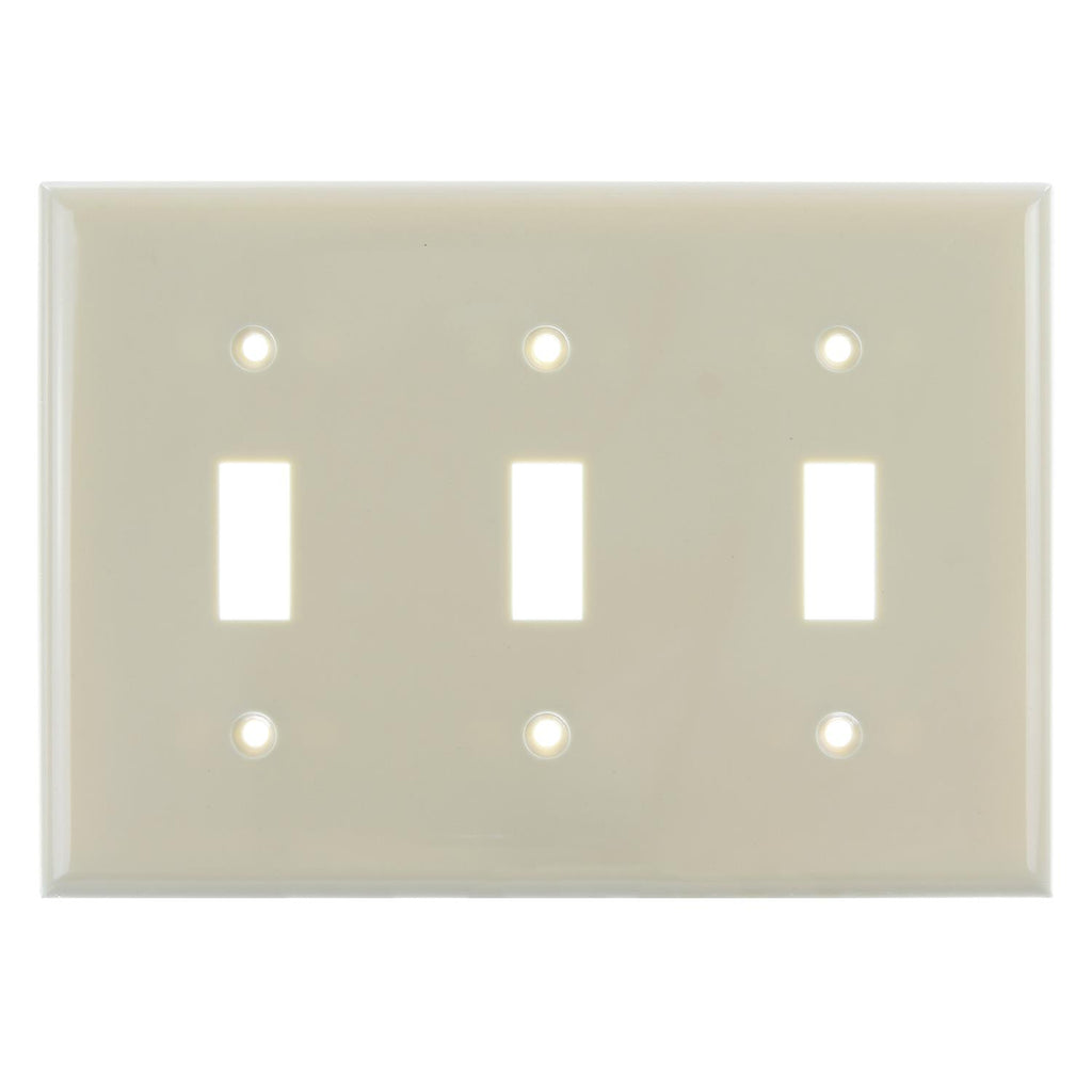 12pk - SUNLITE 3 Gang Toggle Plate Ivory Color E103I