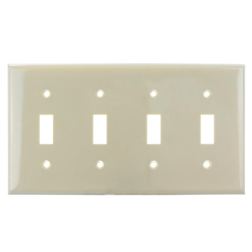 SUNLITE 4 Gang Toggle Plate Ivory Color E104I