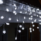 70 Cool White Snowflake LED Icicle Light Set with White Wire - BulbAmerica