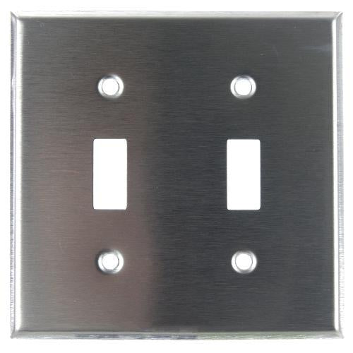 SUNLITE 2 Gang Toggle Plate Steel E102S