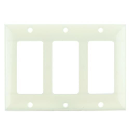 12Pk - SUNLITE 3 Gang Decorative Plate Almond Color E303A