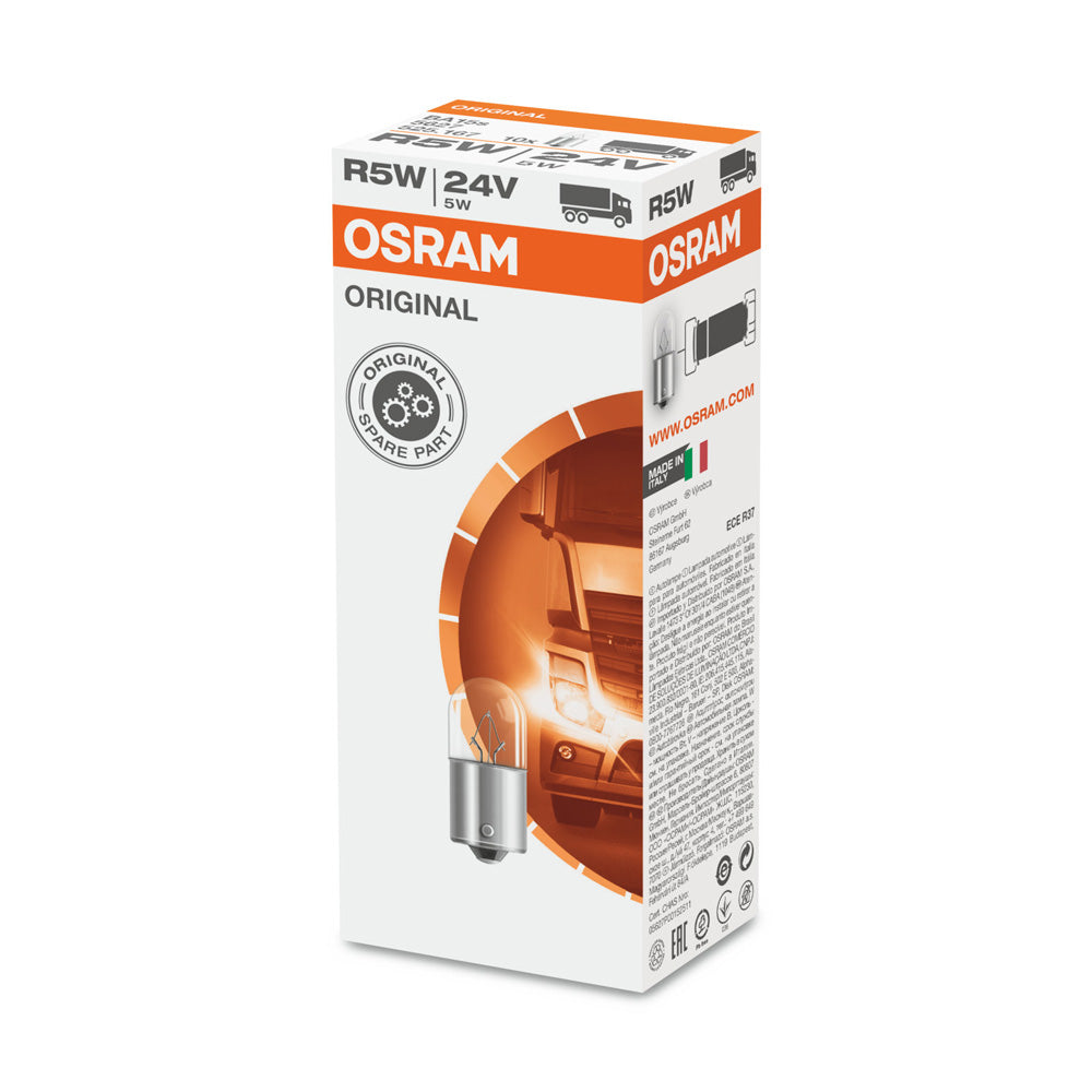 10-PK Osram 5627 R5W 24V 5W Automotive Bulb - Engineered for Trucks and Buses