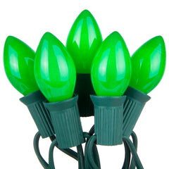 "C7 Green Opaque Steady 25 Light Set, Green Wire, 12"" Spacing"