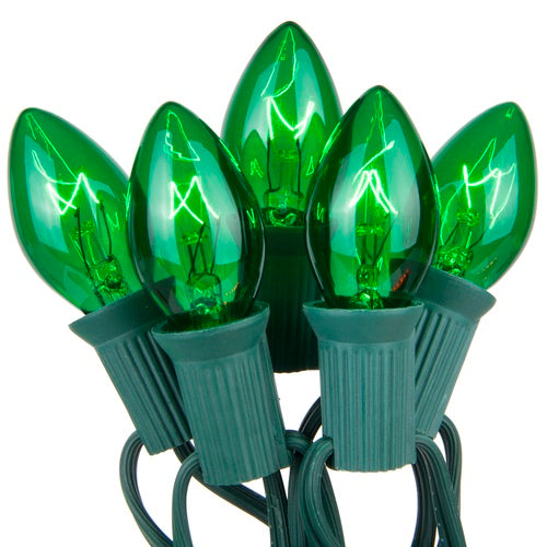 "C7 Green Transparent Steady 25 Light Set, Green Wire, 12"" Spacing"