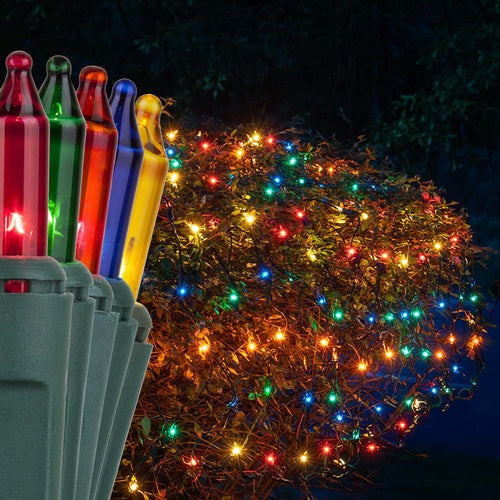 4' x 6' Multicolor Christmas Net Lights, 150 Lamps on Green Wire