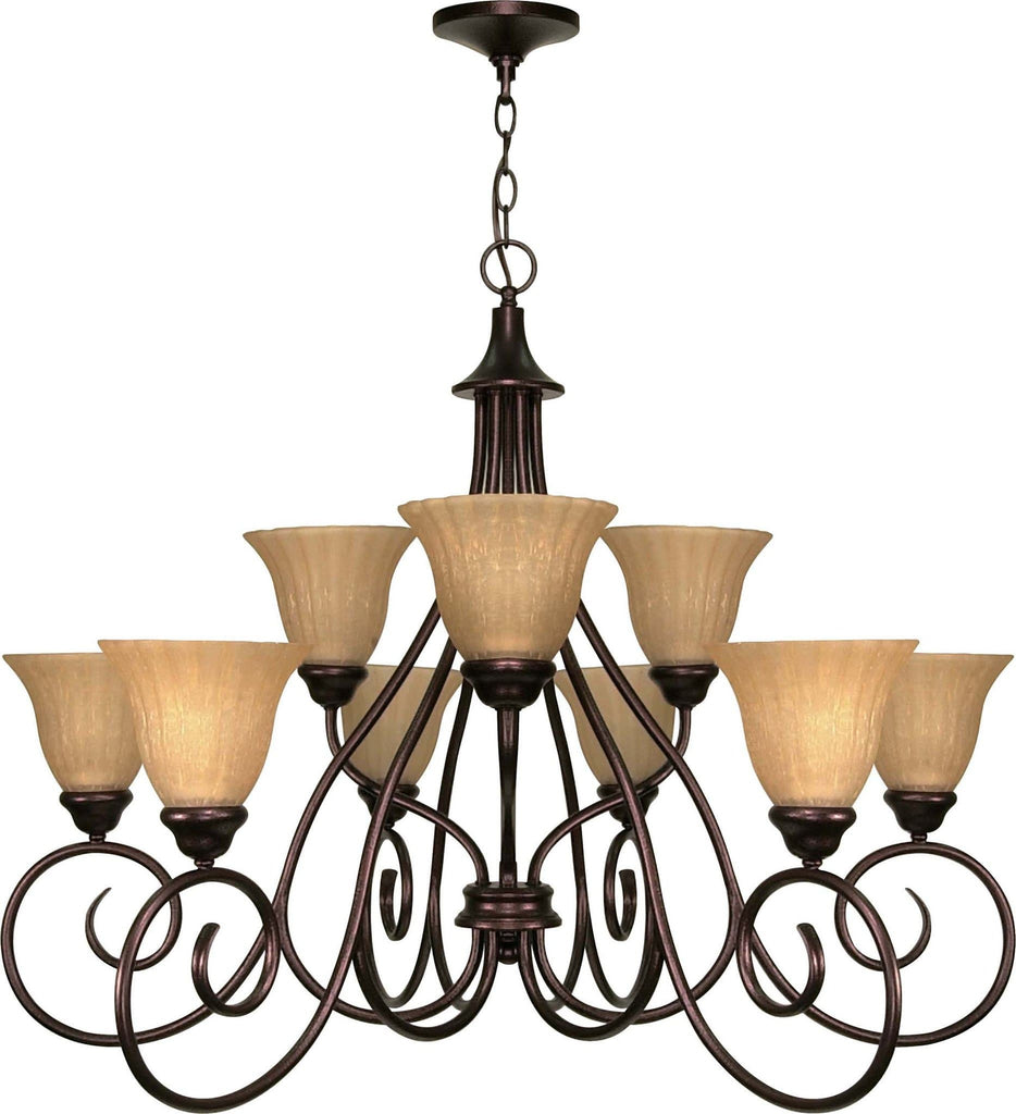 Nuvo Moulan - 9 Light  28in - Chandelier 2-Tier w/ Champagne Linen Washed Glass
