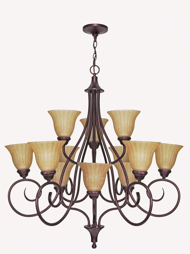 Nuvo Moulan - 12 Light - 36 inch - Chandelier - 3-Tier w/ Champagne Linen Washed Glass