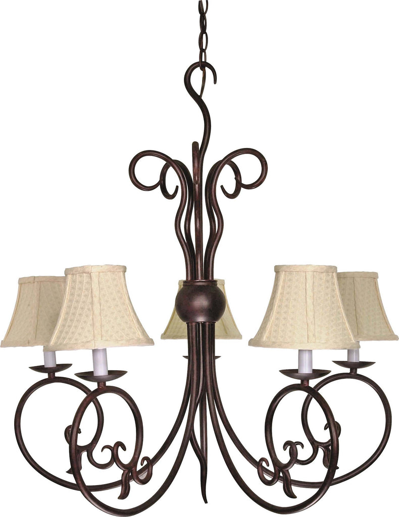 Nuvo Tapas - 5 Light - 29 inch - Chandelier - w/ Linen Waffle Shade