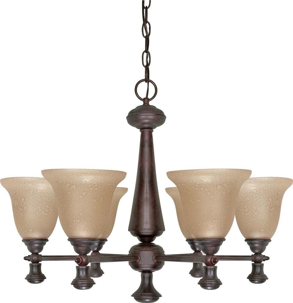 Nuvo Mericana - 6 Light - 26 inch - Chandelier - w/ Amber Water Glass
