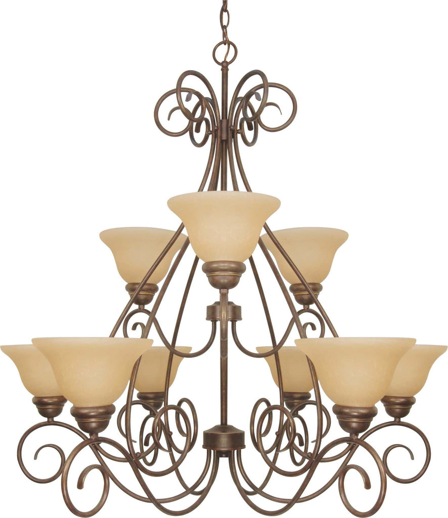 Nuvo Castillo - 9 Light  34in Chandelier 2 Tier w/ Champagne Linen Washed Glass