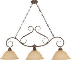 Nuvo Castillo - 3 Light - 44 inch - Trestle - w/ Champagne Linen Washed Glass
