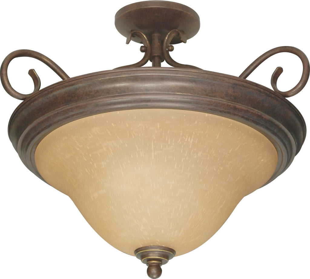 Nuvo Castillo - 3 Light - 19 inch - Semi-Flush - w/ Champagne Linen Washed Glass