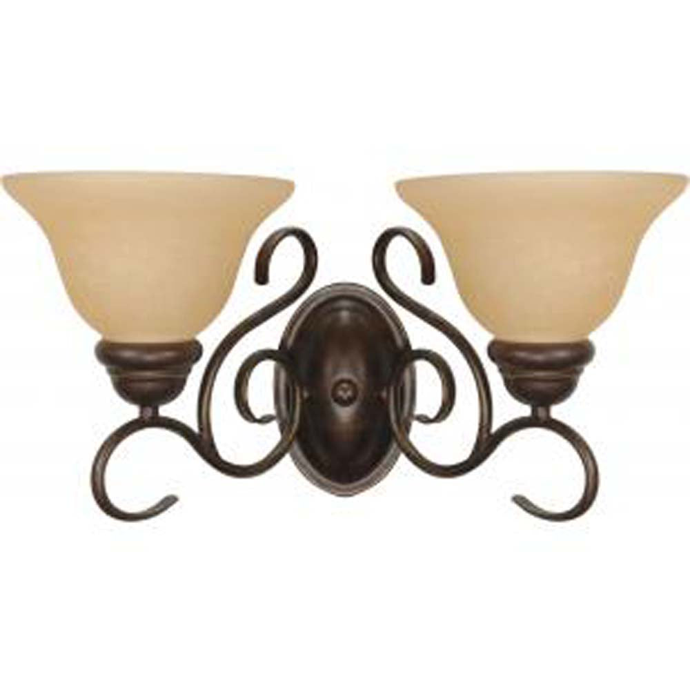 Nuvo Castillo - 2 Light - 18 inch - Wall Fixture - w/ Champagne Linen Washed Glass