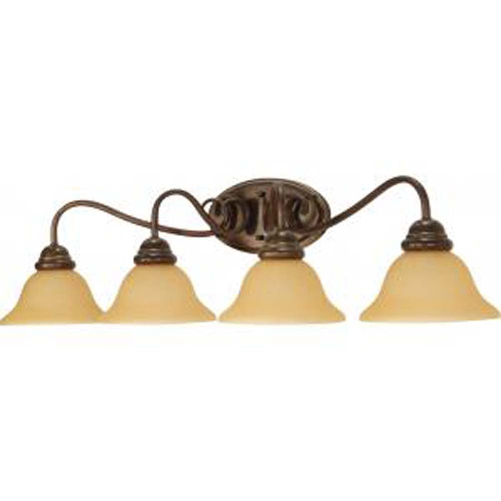 Nuvo Castillo - 4 Light  33 in Wall Fixture w/ Champagne Linen Washed Glass