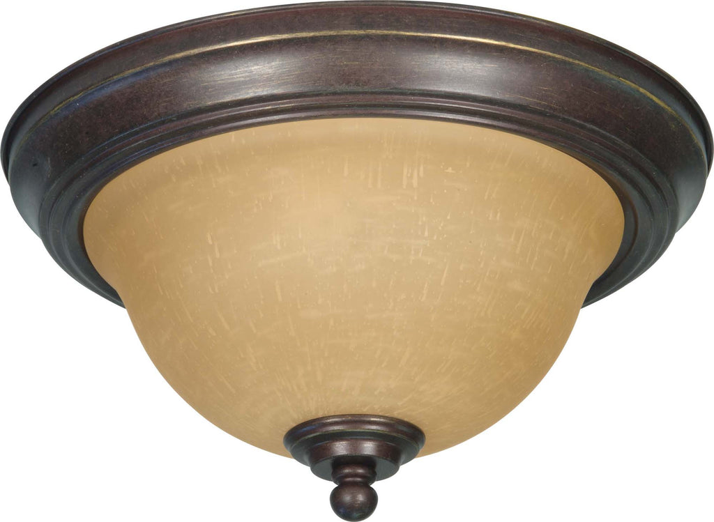 Nuvo Castillo - 2 Light - 11 inch - Flush Mount - w/ Champagne Linen Washed Glass
