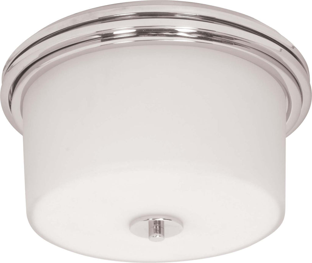 Nuvo Jet - 2 Light - Halogen Flush Mount- w/ Satin White Glass - Lamps Included