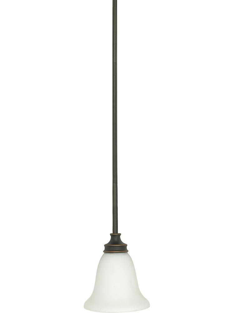 Bistro - 1 Light Mini Pendant w/ Satin Opal White Glass