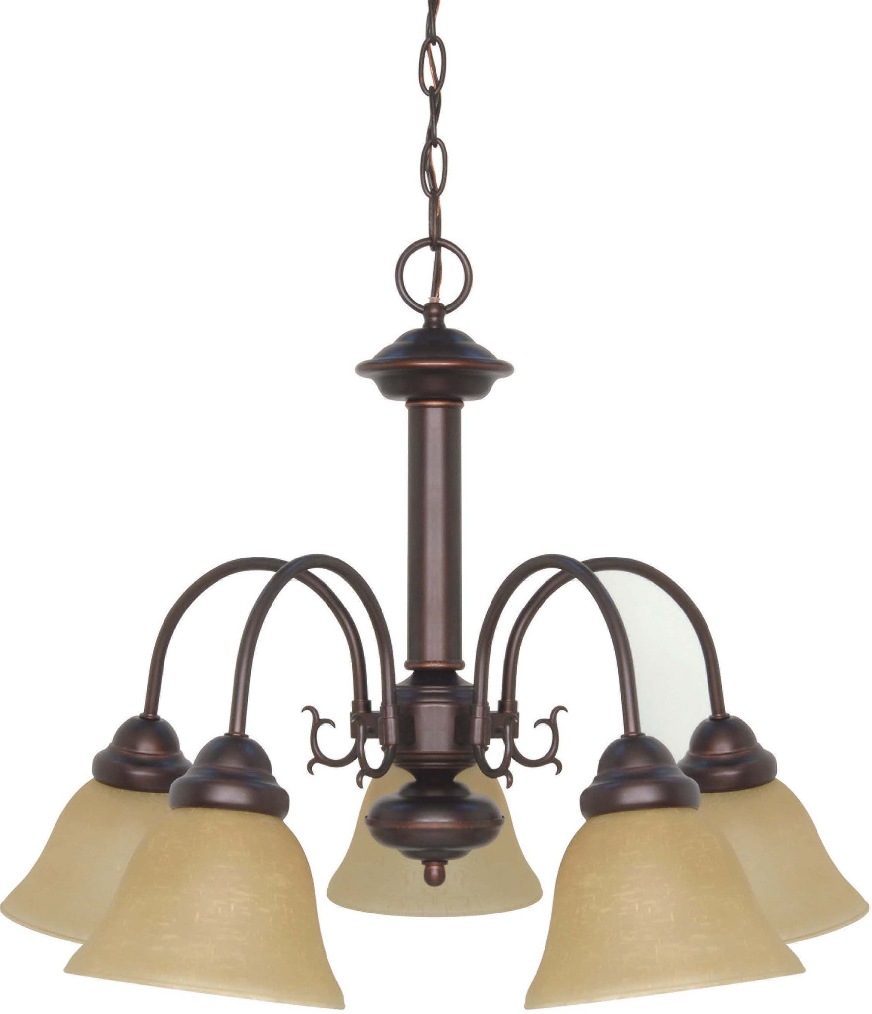 Nuvo Ballerina 5 Light 24 inch Chandelier w/ Champagne Linen Washed Glass