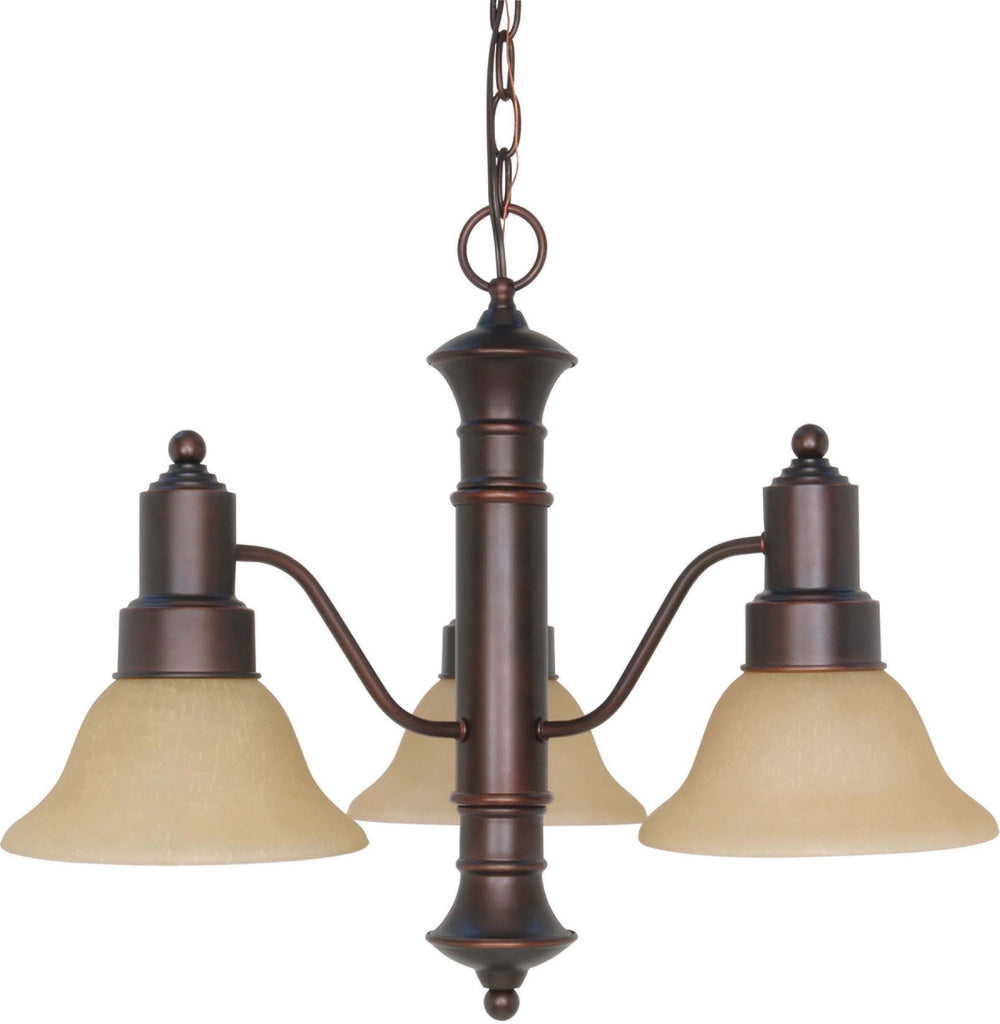 Nuvo Gotham 3 Light 23 inch Chandelier w/ Champagne Linen Washed Glass