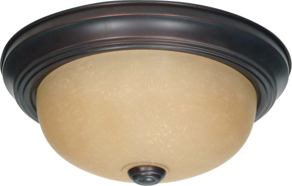 Nuvo 2 Light 11 inch Flush Mount w/ Champagne Linen Washed Glass