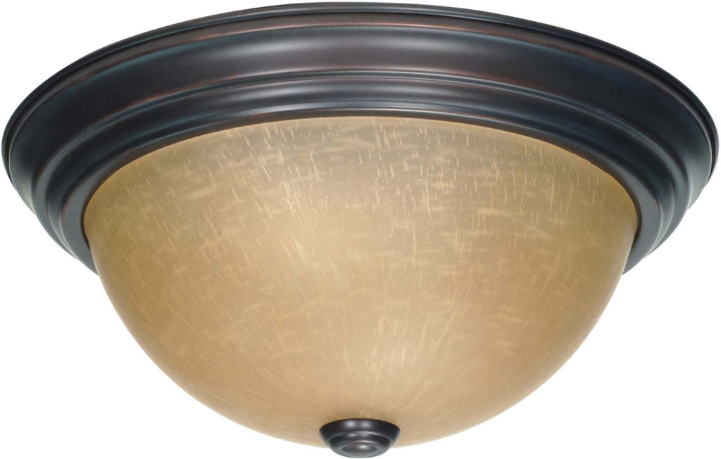 Nuvo 2 Light 13 inch Flush Mount w/ Champagne Linen Washed Glass