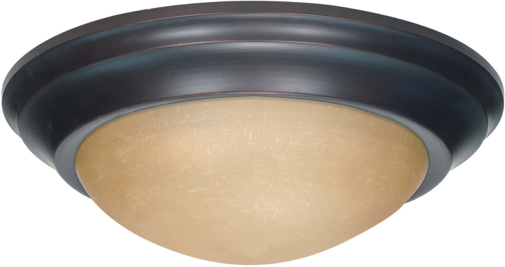 Nuvo 3 Light 17 inch Flush Mount Twist & Lock w/ Champagne Linen Washed Glass